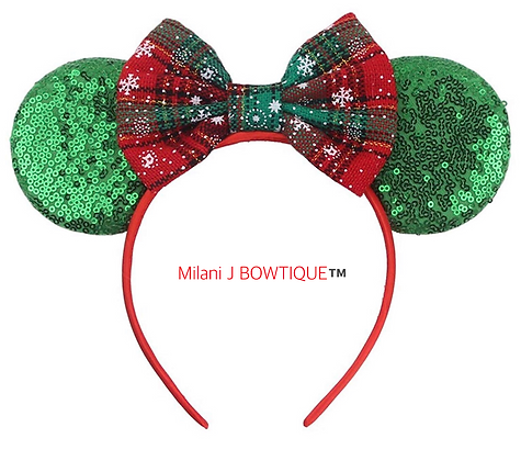Green or Red Snowflake ❄️ Plaid Mouse Ears Headband
