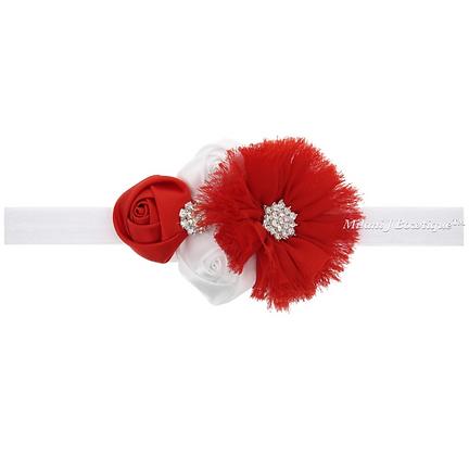 Red and White Shabby Chic Headband