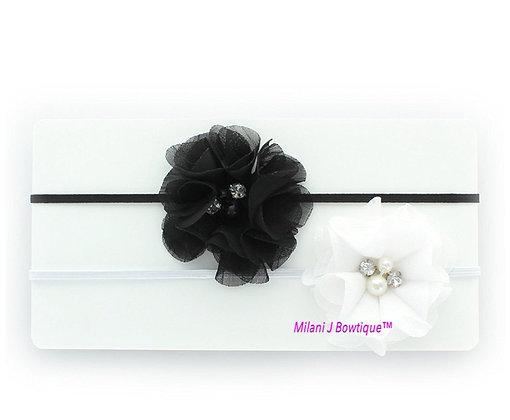 Black and White Chiffon Headband Set