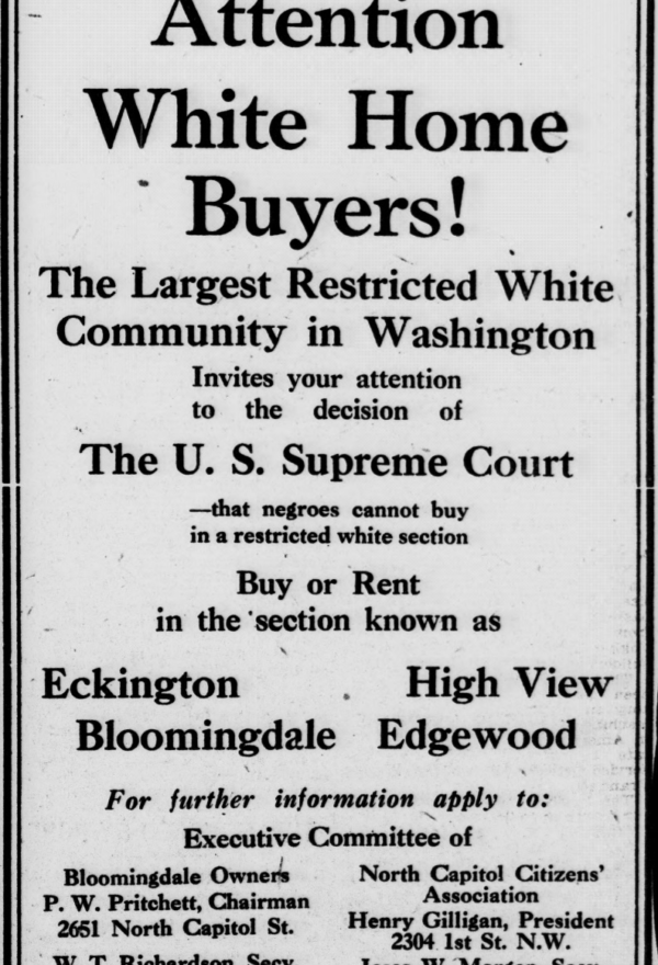 Racially Restrictive Covenants in Bloomingdale