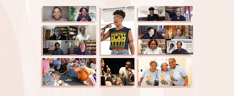 Collage of pictures for the 2019 and 2020 Schomburg Center Literary Festival