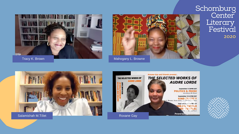 Audre Lorde Zoom panel image of Tracy K. Brown, Mahogany L. Brown, Salamishah M. Tillet, Roxane Gay