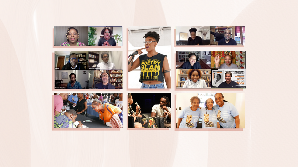 Collage of pictures from the 2019 and 2020 Schomburg Center Lit Fest.  Zoom Panels and street fest