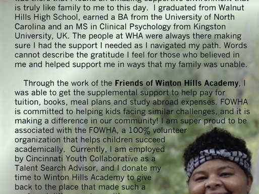 A Thank You Letter from alumni Shante George