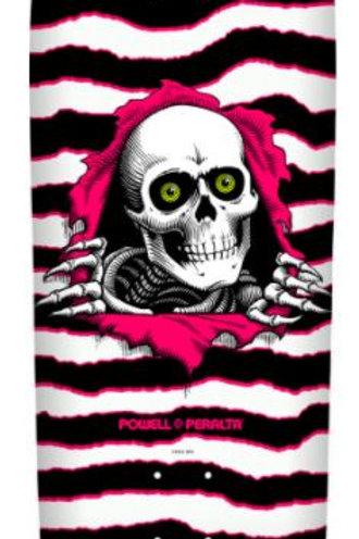Powell Peralta Old School Ripper Skateboard Deck White/Pink - 9.89 x 31.32