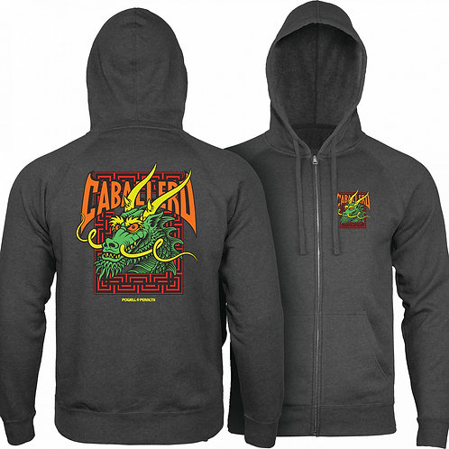 Powell Peralta Cab Street Hooded Zip Sweatshirt - Charcoal Heather