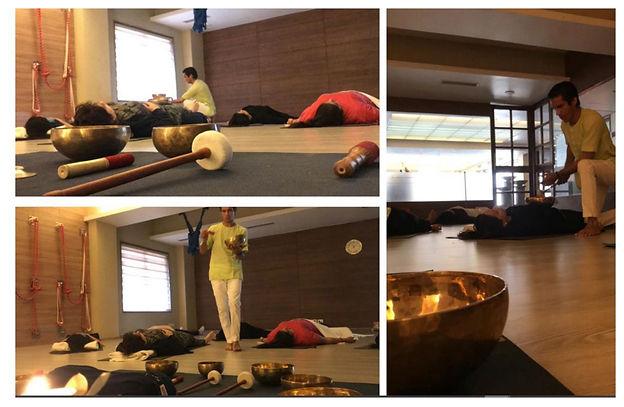 Devesh doing Sound meditation - Yogarambha Studio