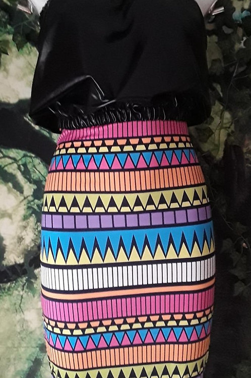 Tribal Printed Pencil Skirt