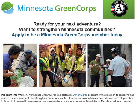 Application period open for 2021-22 GreenCorps AmeriCorps program, apply by June 15!