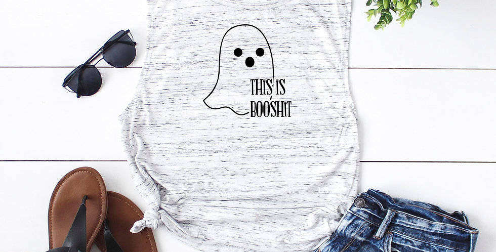 Halloween shirt - This is booshit - feminine flowy muscle tank - printed with...