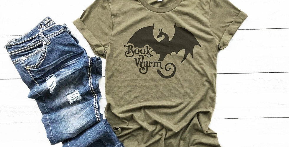 Book Wyrm t-shirt - book worm - book dragon - crew neck tee - unisex sizes - ...