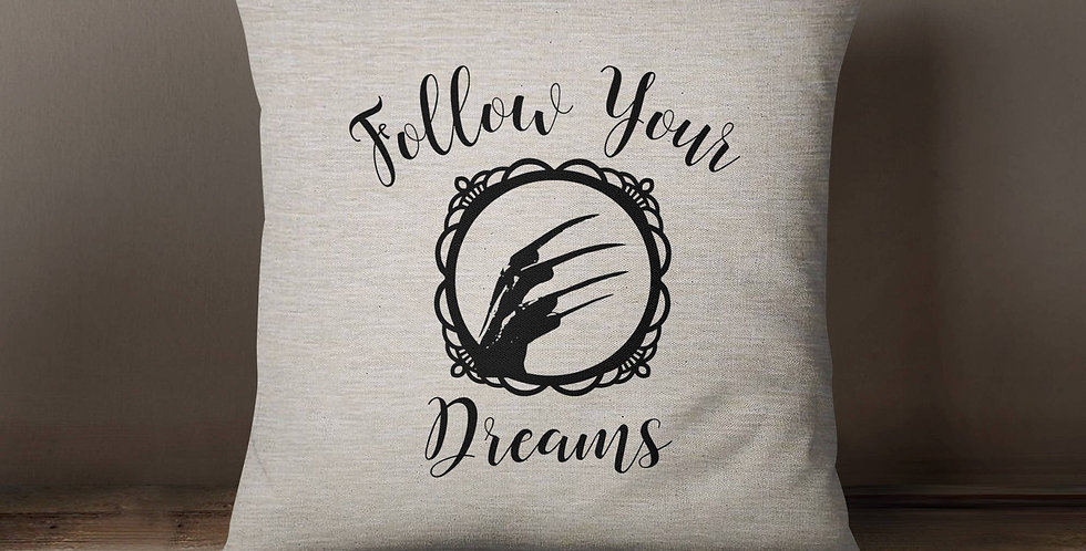 """Nightmare on Elm Street: Freddy """"Follow Your Dreams"""" parody pillow cover 18..."""