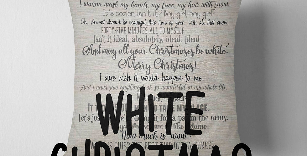 White Christmas movie quote pillow cover - 18x18inch pillow cover - machine w...