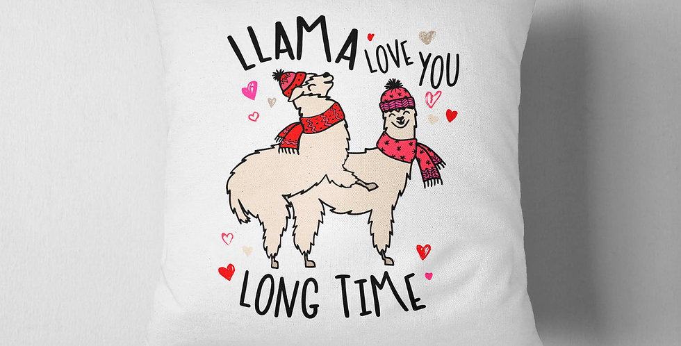 Llama love you long time - llama pillow - valentine's day - 18x18inch pillow ...