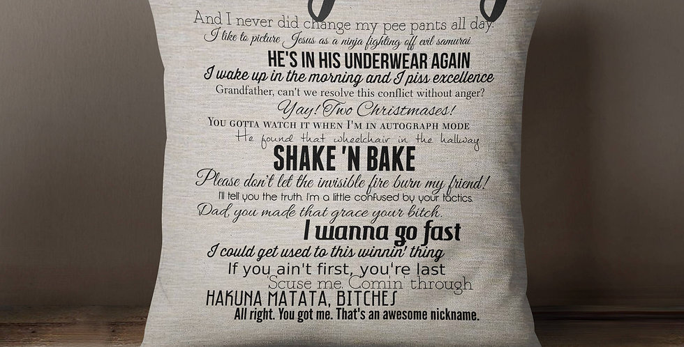Talladega Nights: The Ballad of Ricky Bobby movie quote pillow cover 18x18inc...
