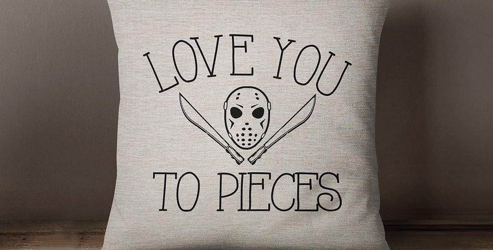 "Friday the 13th ""Love you to pieces"" Jason Voorhees inspired humor pillow/1..."