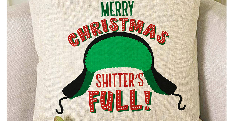 Christmas Vacation - Shitter's Full - Burlap style pillow cover - Christmas V...