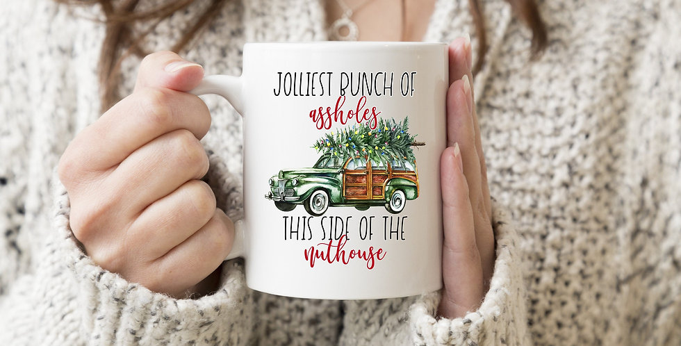 Mature Listing: Christmas Vacation movie quote mug - Jolliest bunch of asshol...