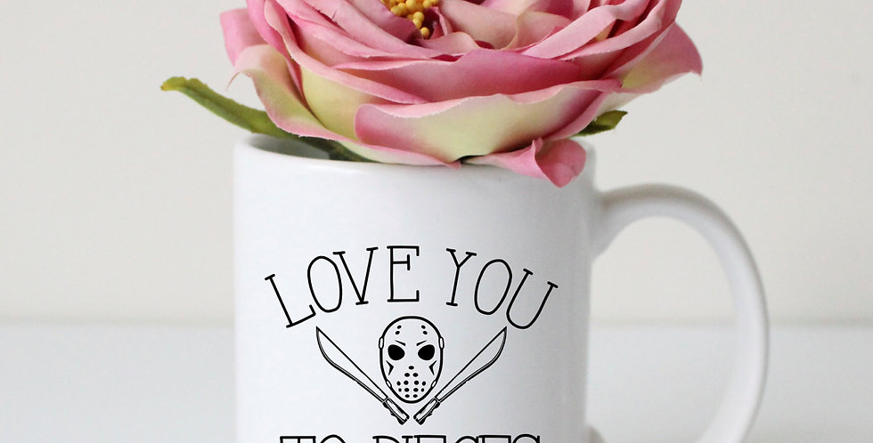 "Jason Voorhees mug ""love you to pieces"" - Friday the 13th inspired mug - co..."