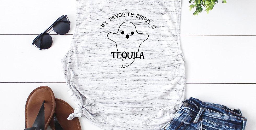 Halloween shirt - My favorite spirit is tequila - feminine flowy muscle tank ...