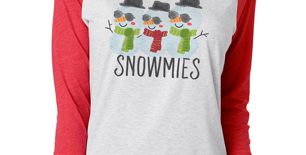 Chillin' with my snowmies - unisex raglan - christmas winter shirt - eco frie...
