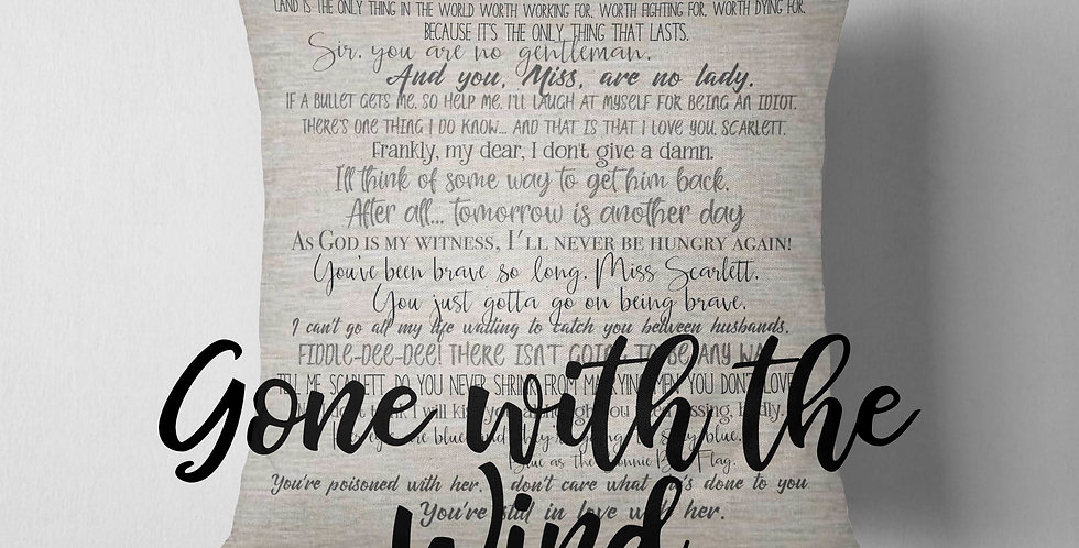 Gone with the Wind inspired pillow cover - 18x18inch pillow cover - movie quo...