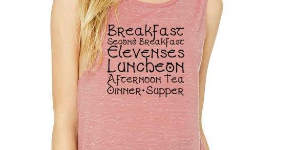 Hobbit meal schedule - Second Breakfast - feminine flowy muscle tank - printe...