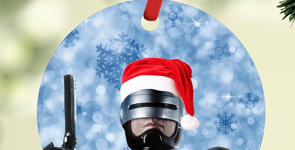 "Horror Christmas ornament | Robocop with santa hat | 2.75"" diameter flat alu..."