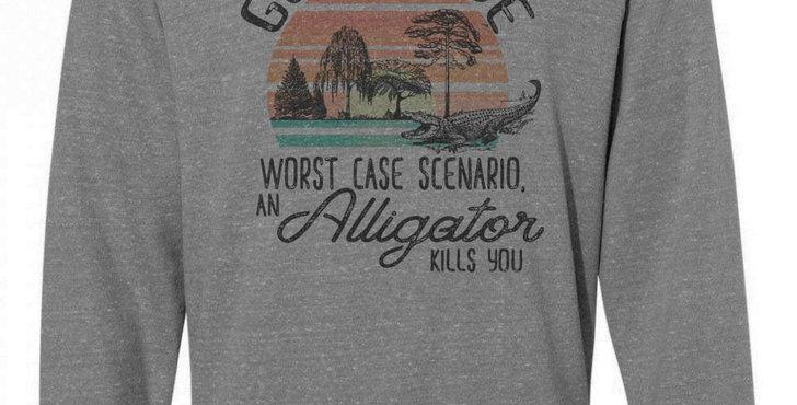 Go outside funny sweatshirt - unisex sizing - go outside: worst case scenario...