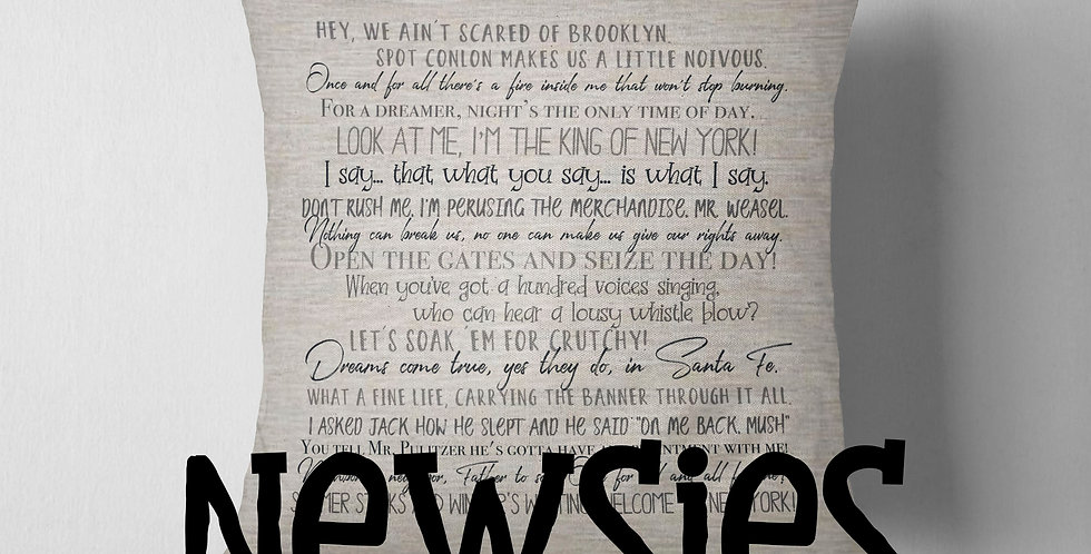 Newsies pillow cover - 18x18inch pillow cover - movie quotes - classic movies...