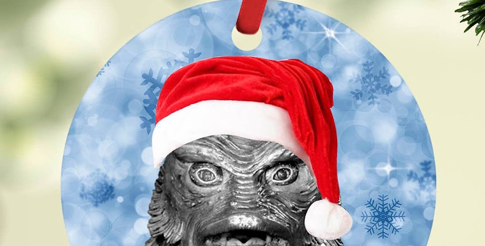 Horror Christmas ornament   The Creature from the Black Lagoon with santa hat...