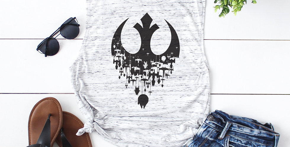 Rebel ships - feminine flowy muscle tank - printed with eco friendly inks - s...