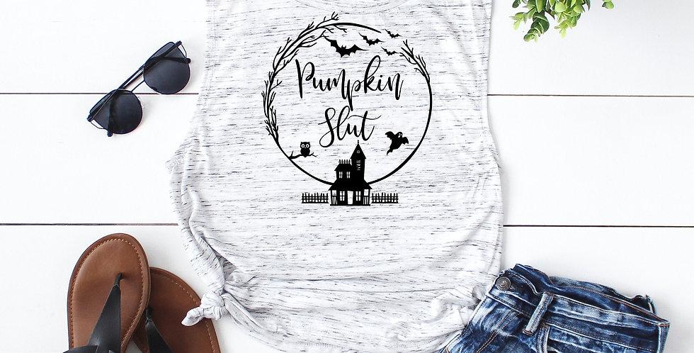 Pumpkin Slut tank - feminine flowy muscle tank - printed with eco friendly in...