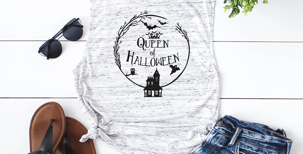 Queen of Halloween - feminine flowy muscle tank - printed with eco friendly i...