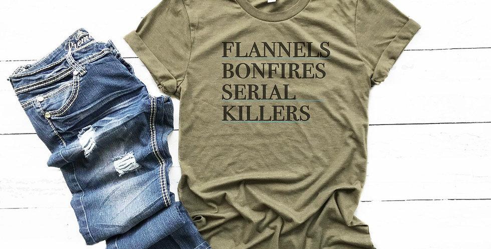 Horror shirt - flannels bonfires serial killers - horror tee - crew neck tee ...