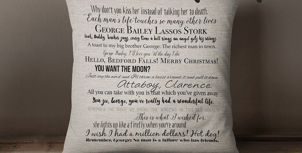 It's a Wonderful Life christmas movie quote pillow 18x18inch - washable pillo...