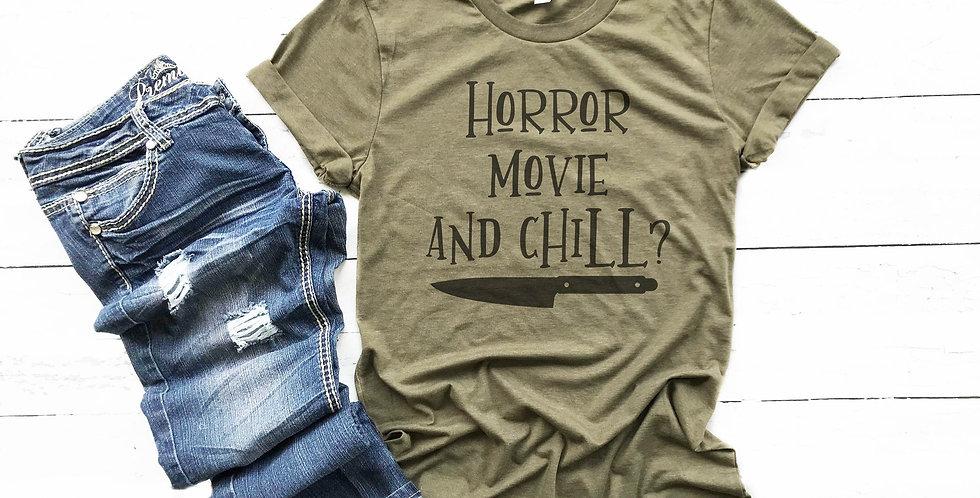 Horror movie and chill? - horror tee - crew neck tee - unisex sizes - sizes x...
