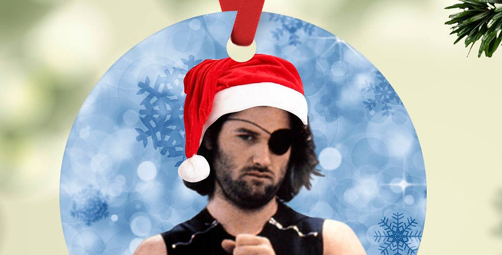 "Horror Christmas ornament | Snake Plissken with santa hat | 2.75"" diameter f..."
