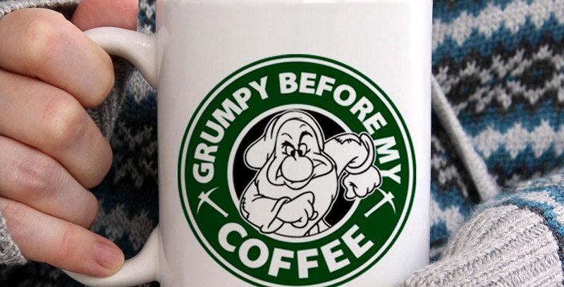 Coffee mug, snow white, grumpy, seven dwarfs, 11oz white ceramic mug, microwa...