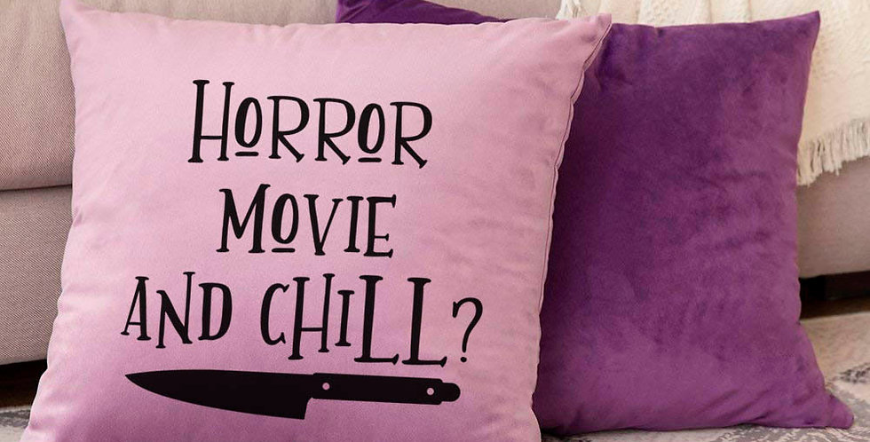 Halloween horror movie pillow - horror movie and chill? - 18x18inch pillow co...