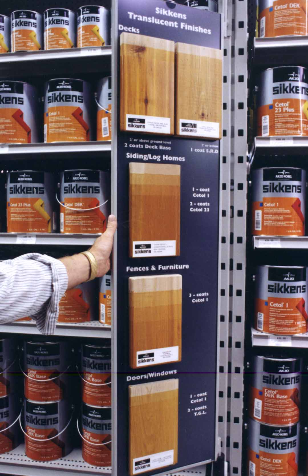 sikkens single wing pivoting merchandising retail system