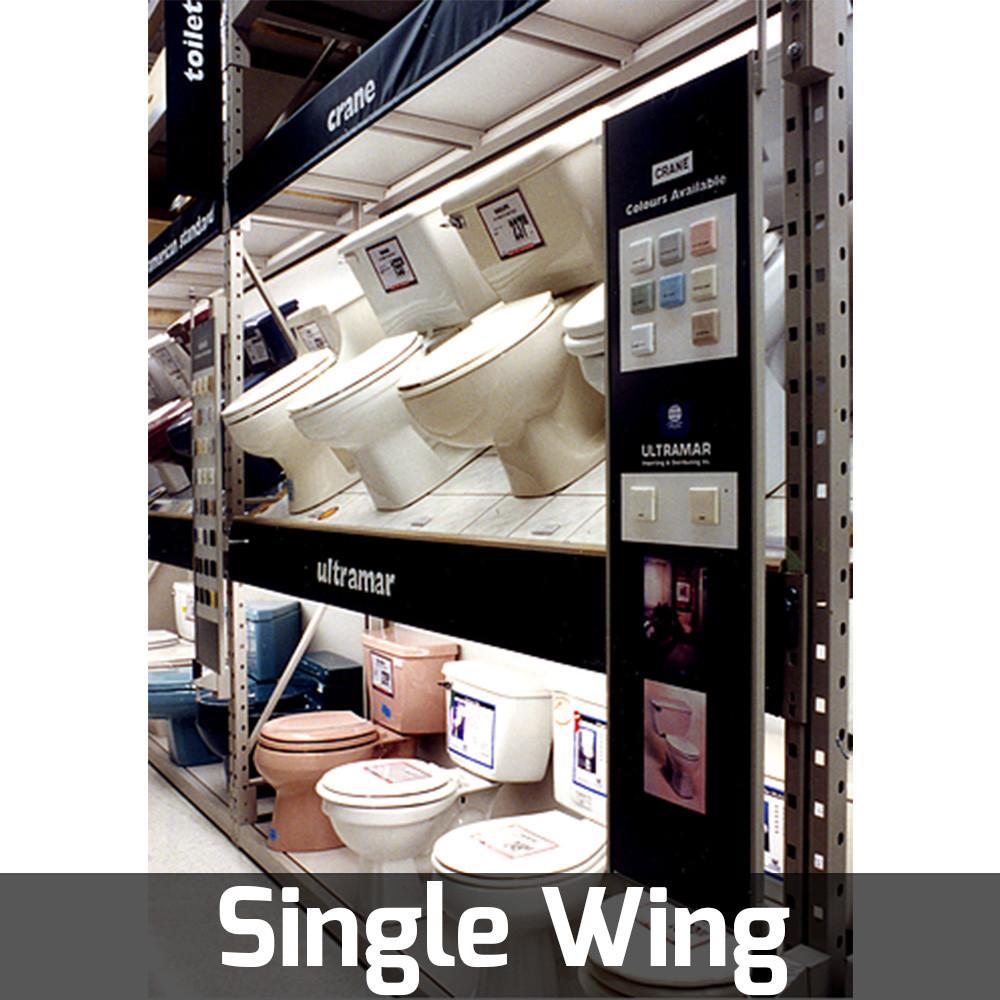single wing rack pivoting fixture door display