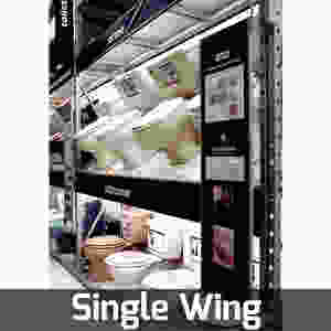 single wing rack pivoting fixture door display