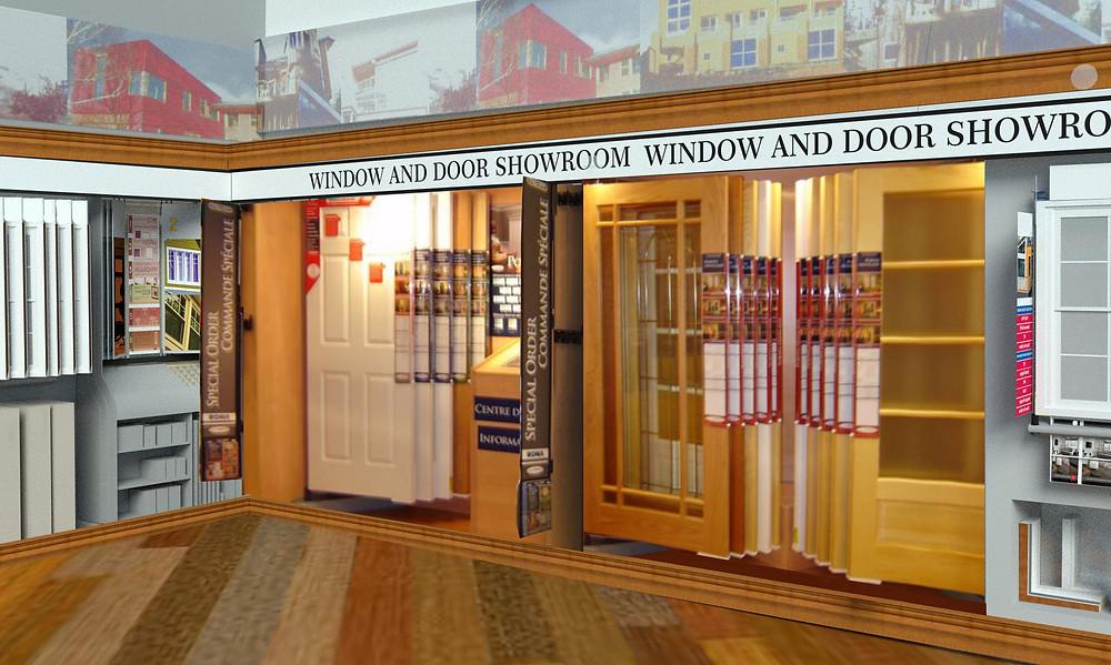 pivoting interior door display in showroom wall mount