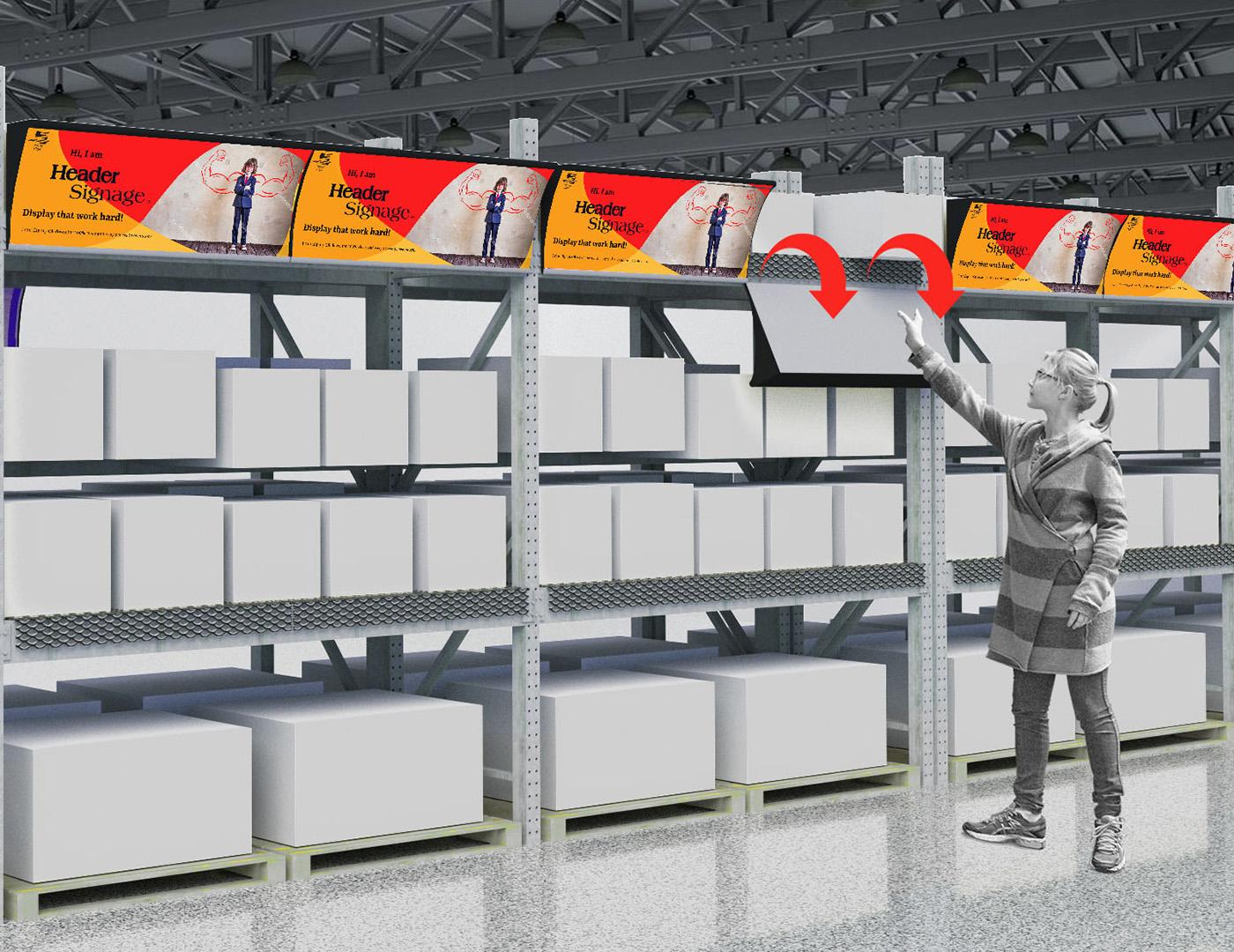 Header signage system for rack
