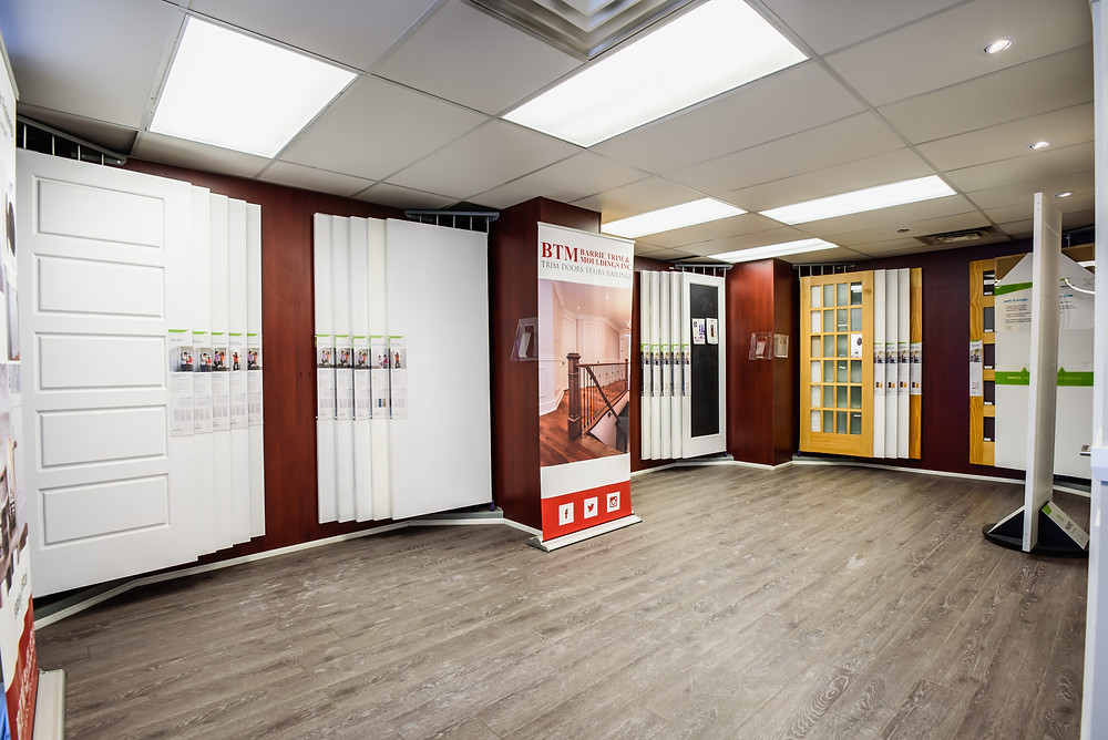 retail displays with interior doors at the showroom