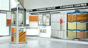 showroom retail pivoting displays for doors and building products