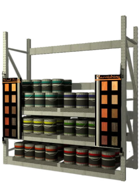 single wing pivoting display system for rack