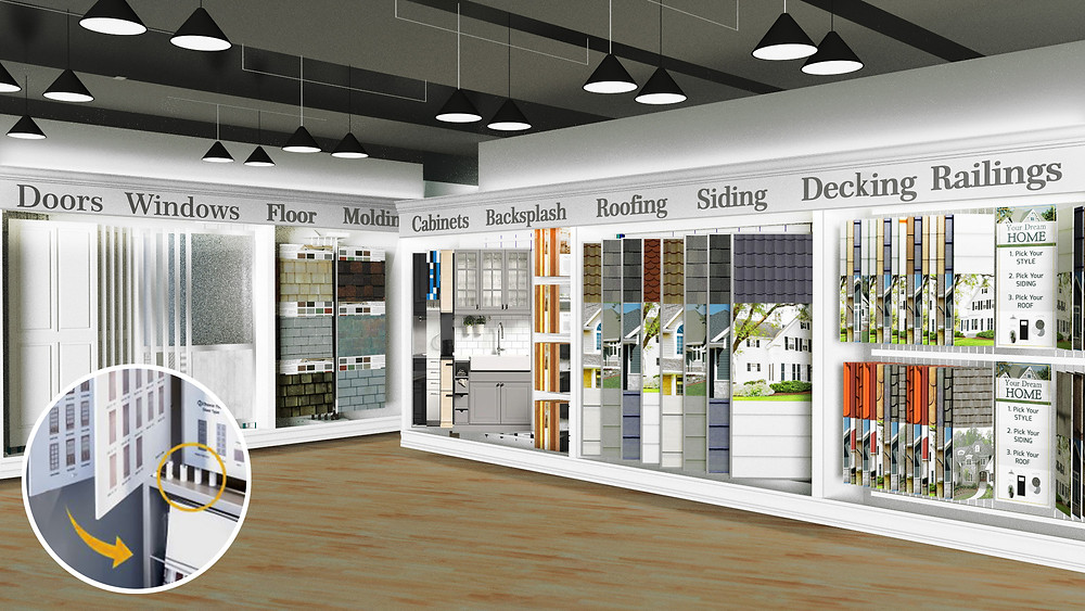 building products showroom retail fixtures for small and big samples