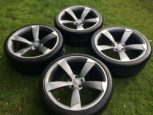 """20 inch Audi TTRS Style Alloy Wheels 5x112 A5 A6 A7 A8 20"""" Rotors Black Edition"""
